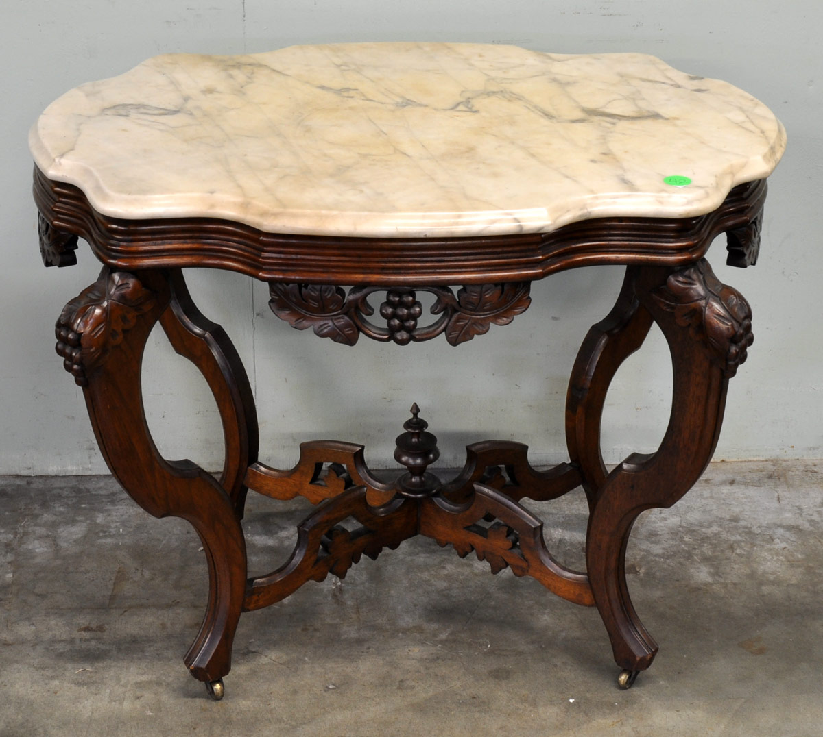 Auction company 751 walnut victorian marble top parlor table ca 1870 - 42 1 Lovely Carved Victorian Parlor Table With Marble Top