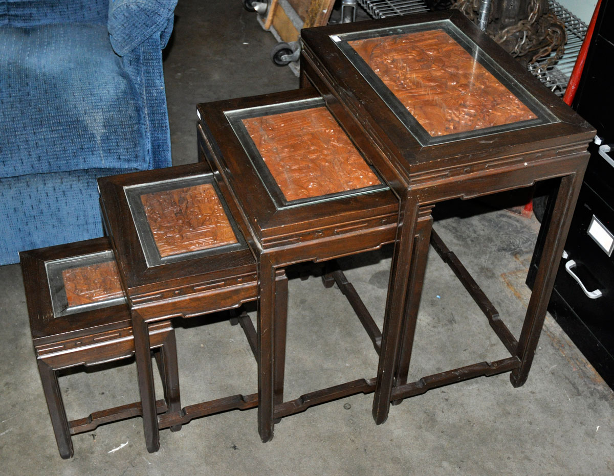 71 Set Of 4 Nesting Tables With Asian Carved Inserts And