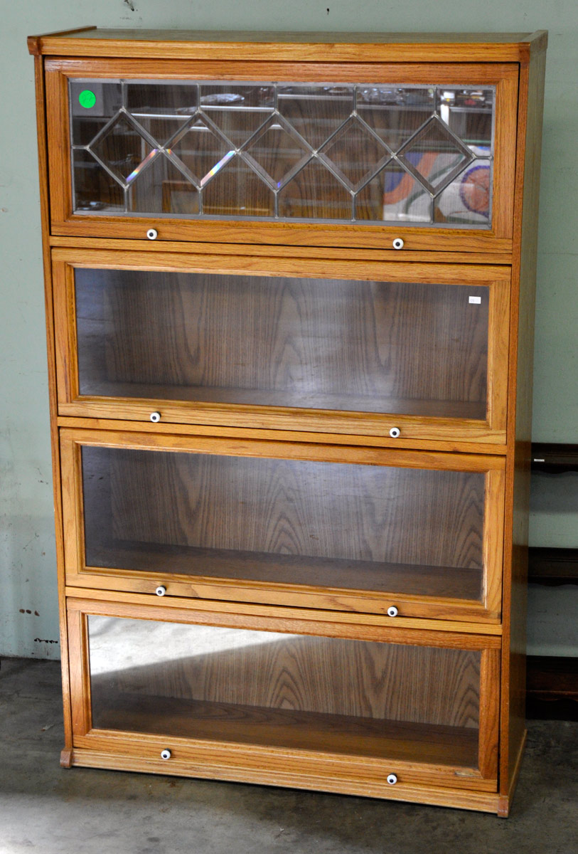 22 Modern Lawyer S Oak Bookcase With Top Leaded Glass Door