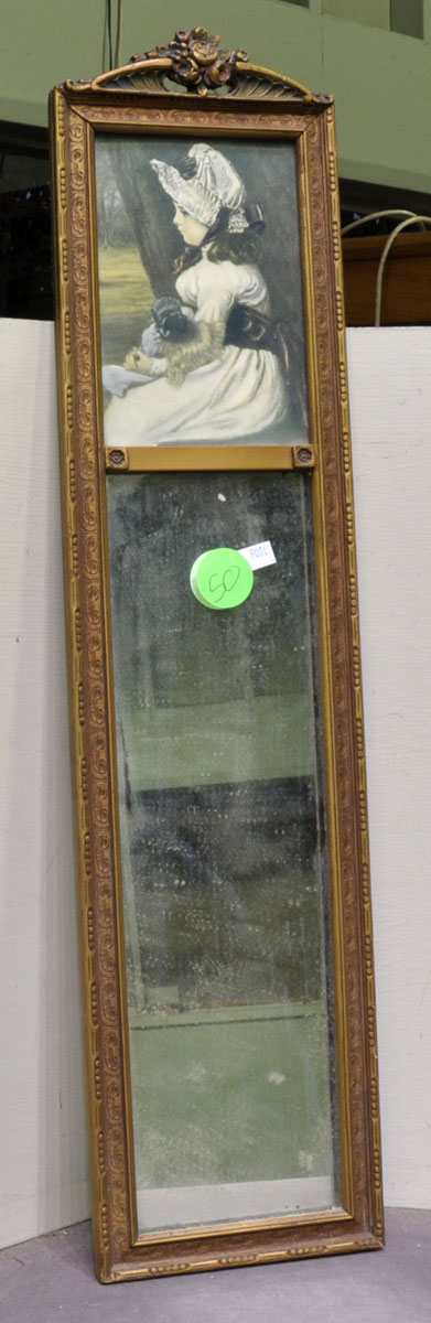 50 T Antique Mirror W Print Of A Girl W Carved Rose Top Sticker On Back Quot Frederick Loeser Co