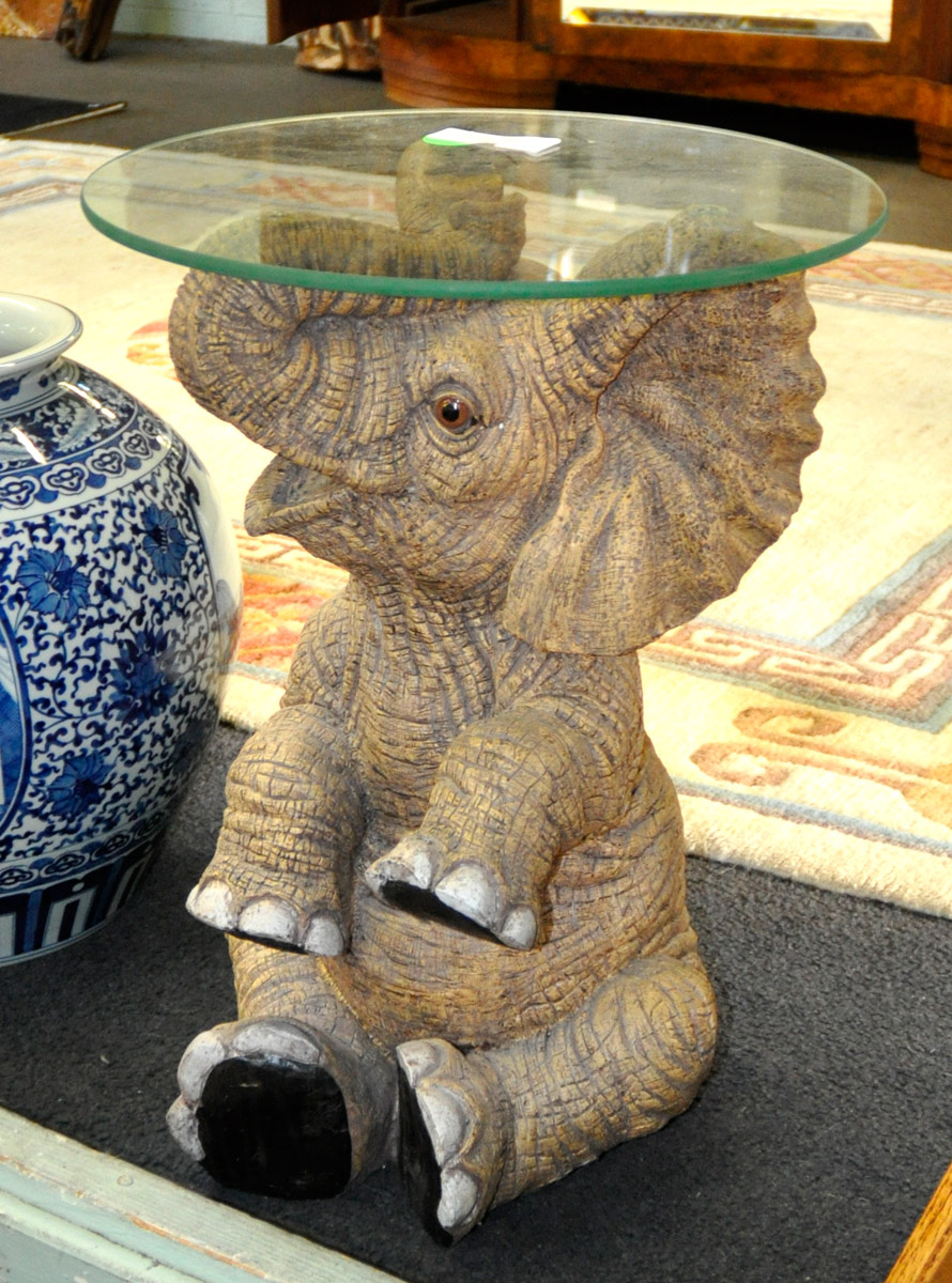 5 21 Quot Tall Modern Elephant Table Base With 16 Quot Glass Top